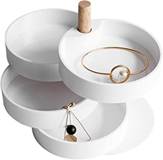 Pahdecor Little Jewelry Box Travel,Small Jewelry Organizer Rotating for Traveling,Four-Layer Spinning Jewelry Display Storage Case Portable for Necklace,Earrings,Rings,Bracelets