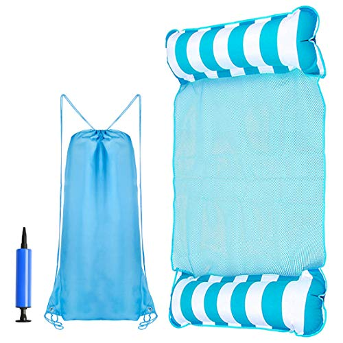 Water Hammock Float, Pool Mattress Floats for Adults, 4-in-1 Multi-Purpose Inflatable Hammock (Saddle, Lounge Chair, Hammock, Drifter) Portable Pool Float (Blue)