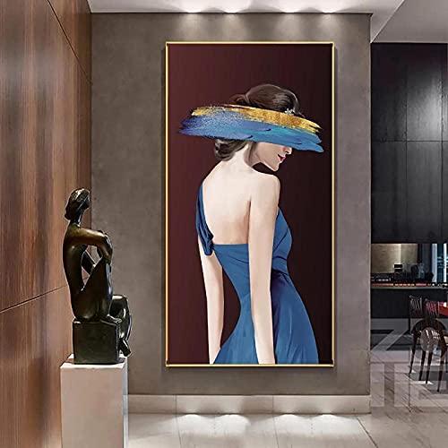 YHJK Pintura de Arte Cartel Femenino Pintura de Entrada Arte de la Pared Imagen Estética Decoración de la Sala de Estar Impresión en Lienzo Obra de Arte 60x120cm Sin Marco