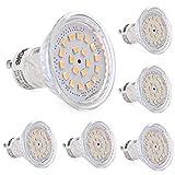 LEDGLE 6er GU10 LED Lampe 3,5 W Reflektor Warmweiß 3000K, Ersetzt 60W Halogenlampen, 120 ° Abstrahlwinkel, Einbauleuchte, GU10 Schienenstrahler