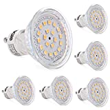 LEDGLE Pack GU10 LED bombillas, 60 W bombillas hal¨genas equivalentes, MR16 3,5 W, 350 lm, blanco c¨¢lido, 3000 K, 120 ¡ã ¨¢ngulo de haz, empotrable, iluminaci¨n, iluminaci¨n de la pista