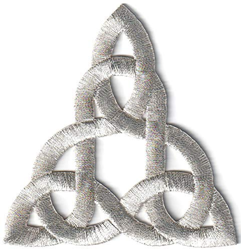 Celtic Knot Silver Irish Goth Biker Tattoo Retro Magick Embroidered Applique Iron-on Patch New