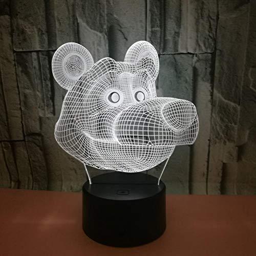 Yujzpl 3D-illusielamp Led-nachtlampje, USB-aangedreven 7 kleuren Knipperende aanraakschakelaar Slaapkamer Decoratie Verlichting voor kinderen Kerstcadeau-Stoute beer