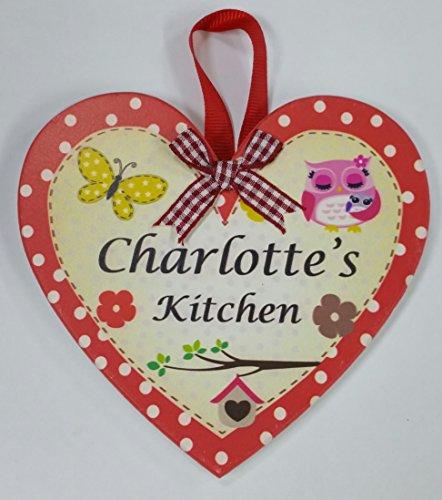 Charlotte nommé personnalisé en forme de cœur Kitchen Plaque magnétique par Sterling effectz