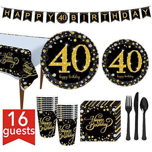 WE-WIN 114 Piezas 21, 30, 40, 50, 60 cumpleaños, Suministros para la Fiesta de cumpleaños Que Incluyen Platos, Tazas, servilletas, pancartas y manteles, 16 Invitados