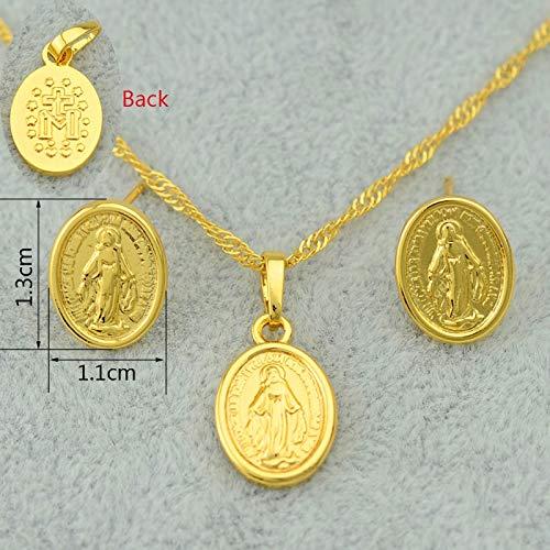 Conjunto de Joyas de la Virgen María Collar Colgante Pendientes de Cadena Conjunto Mujeres Oro Color Ortodoxo/Católico Conjunto 45cm Cadena Delgada