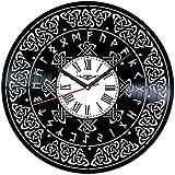 Reloj de pared de vinilo con símbolo celta, reloj de pared de vinilo, color negro, hecho a mano, idea de regalo única