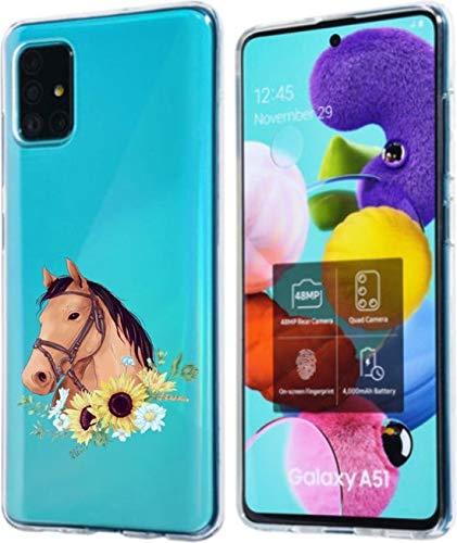 Simar Products Custodia in Silicone per Samsung Galaxy A51 Cavallo Trasparente con Fiori