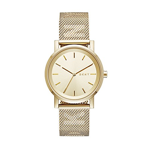 DKNY Women's SoHo Analog-Quartz Watch with Stainless-Steel Strap, Gold, 18 (Model: NY2621