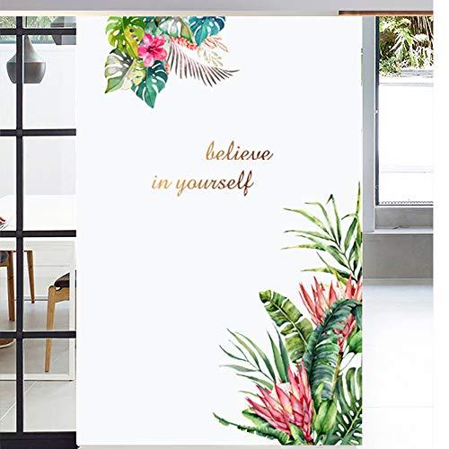 Tropische Pflanzen Blatt mit Wandtattoo, Grüne Baumblätter Wandaufkleber Abziehbilder, DIY Wandkunst Dekor Wohnaccessoires Wandsticker für Wohnzimmer Schlafzimmer