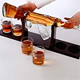 TTLIFE Juego de decantador de pistola de whisky clásico estante de madera para 800 ml, 4 vasos de cristal, botella de whisky, más adecuado para...