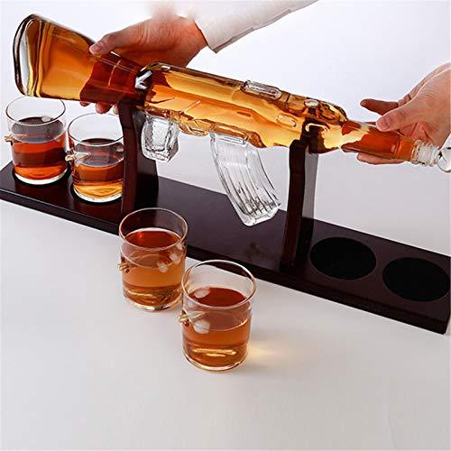 TTLIFE Juego de decantador de pistola de whisky clásico estante de madera para 800 ml, 4 vasos de cristal, botella de whisky, más adecuado para whisky, vino blanco y whisky Bourbon