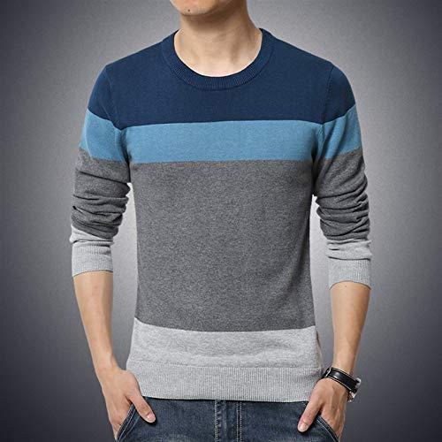 BTMING 2020 Otoño Casual Hombre Suéter O-Cuello Rayado Slim Fit Ropa de Knittwear Mens Suéteres Pullover Pullover Hombres Tire Homme M-3XL (Color : Azul, Size : 2XL)