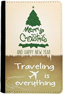 Merry Christmas Tree Green Illustration Traveling quato Passport Holder Travel Wallet Cover Case Card Purse
