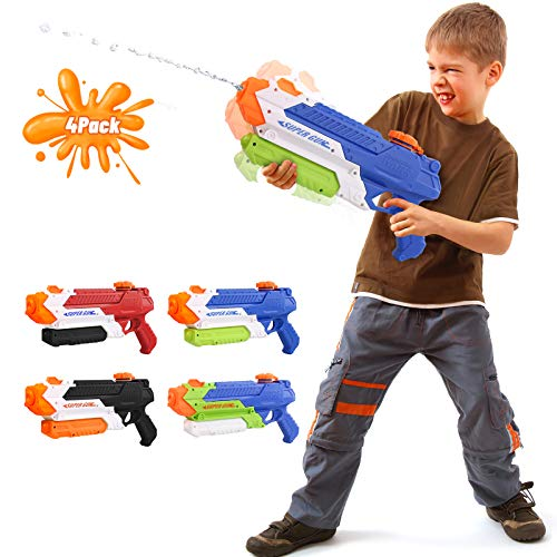 Beewarm Water Guns for Kids Adults - 900 CC Super Water Soaker Long Range - Lifetime Replacement - Big Water Toys for Boys and Girls as Birthday Gifts Red (4 Packs)