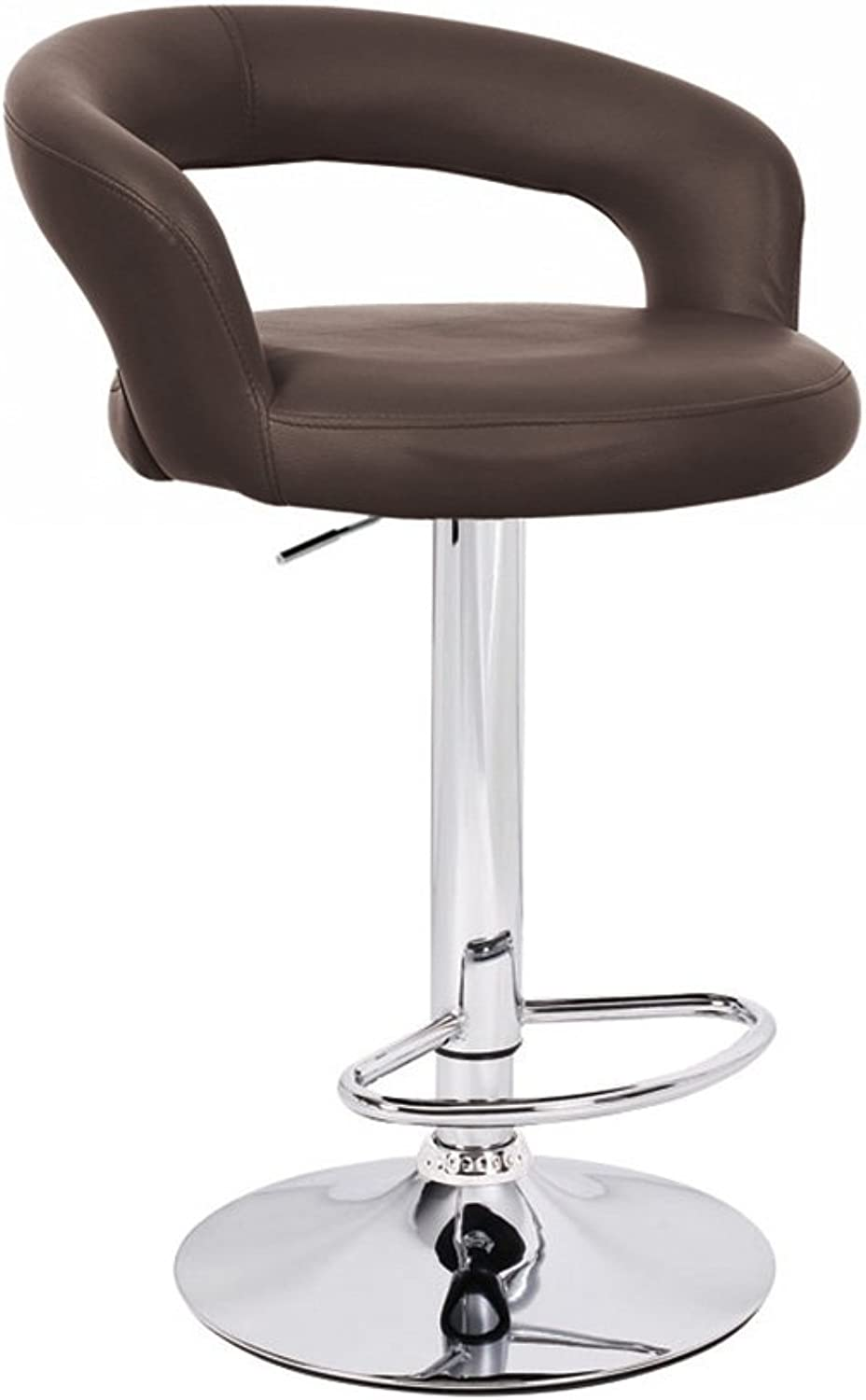 Halo Leather Contemporary Adjustable Barstool - Brown