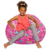 Posh Beanbags BLG-ST041 Bean Bag Chair, Large-38in, Canvas Multi-colored Hearts on Pink