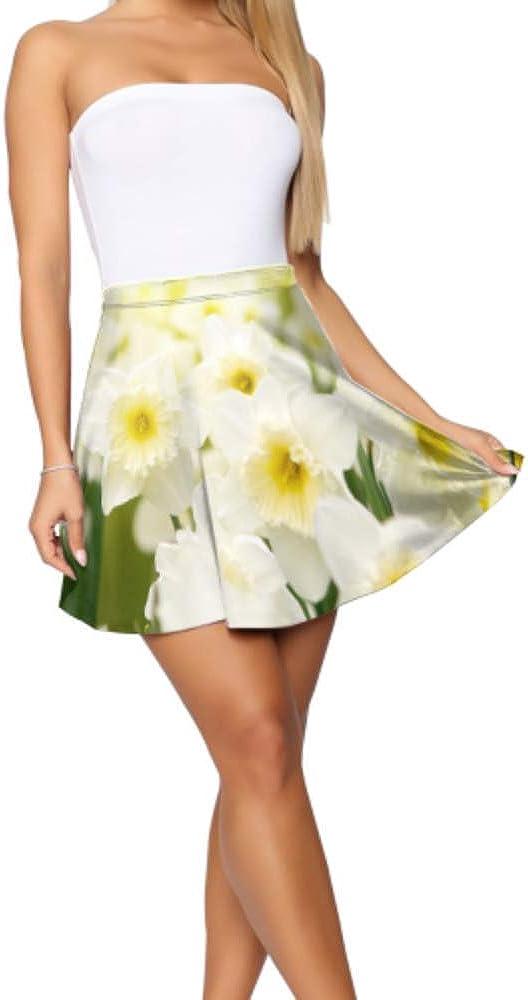 Liaosax Mini Skirts Beautiful White Daffodil Flower Mini Skirts Women Women's Basic Casual Print Mini Skirt S-XL