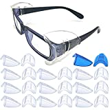 11 Pairs Safety Eye Glasses Side Shields,Slip On Clear Side Shields for Safety Glasses Fits Medium to Large Eyeglasses Frames(10 Pairs Clear and 1 Pair Sapphire Blue)
