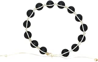 VOS Lifestyle Bracelets VOS Diffuser Bracelet | Bracelets Handmade White Waxed String Wrap Bracelet for Men & Women 14 Black Lava Rock Beads | Unisex Handcrafted Pull Cord Adjustable 6.0-8.0 Inch Wrist | Purity