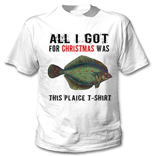 teesquare1st rolig jul rödspätta brittisk fisk gåva WM vit t-shirt