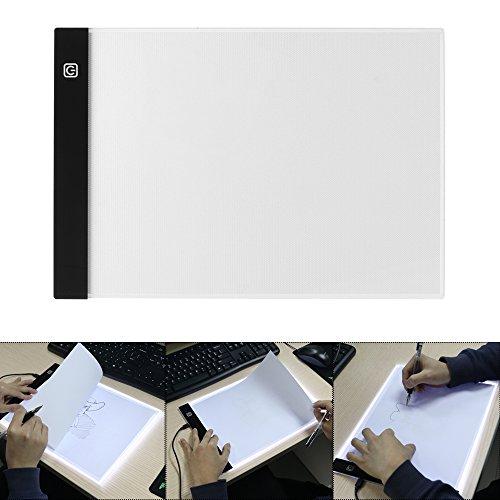 ONEVER Caja de Luz de Seguimiento A4 para Dibujar, Tablero de Luz Led Ultradelgado para Pintar, Dibujar, Dibujar con Diamante, con Interruptor Táctil/Brillo de 3 Niveles