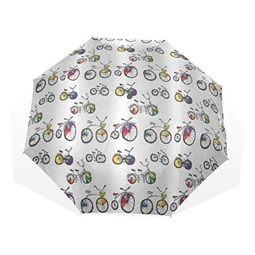 LASINSU Regenschirm,Beachy Fahrrad Hand Drawn Tandem City Bikes Mit Farbigen Felgen Cartoon Style Multicolor,Faltbar Kompakt Sonnenschirm UV Schutz Winddicht Regenschirm