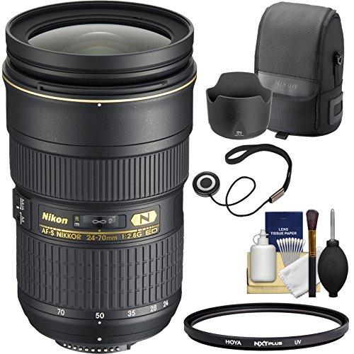 Nikon 24-70mm f/2.8G AF-S ED Zoom-Nikkor Lens with Hood & Pouch Case + Filter Kit for D3200, D3300, D5300, D5500, D7100, D7200, D750, D810 Cameras