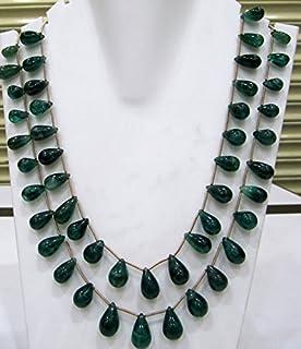 Collar de doble capa con gotas de esmeralda natural, perlas de berilo de 7 x 11 mm a 10 x 16 mm, collar de 40,6 cm de largo