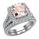 Anello di fidanzamento in oro 14 K con taglio a cuscino, colore: rosa e Oro bianco, 54 (17.2), colore: Trasparente, cod. GDR1551-WG-J-K-I1-7