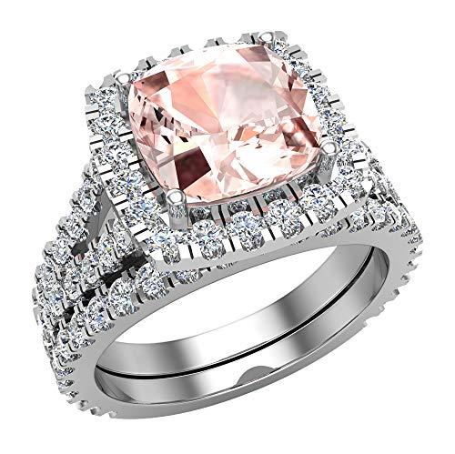 Anillo de compromiso con halo de morganita rosa de corte cojín con vástago dividido con anillo de boda de oro blanco de 14 quilates de 3,40 quilates (I,I1)