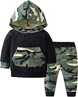 BiBiWorld 2 Piece Baby Boys Long Sleeve Hoodie Tops T-Shirt Camouflage Trouser Infant Clothes Outfits