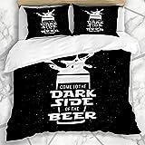Juegos de fundas nórdicas Pub Star Dark Side Pizarra de cerveza Vintage War Drink Food Jedi Glass Brewery Diseño inconformista Ropa de cama de microfibra negra con 2 fundas de almohada Easy Care Anti-