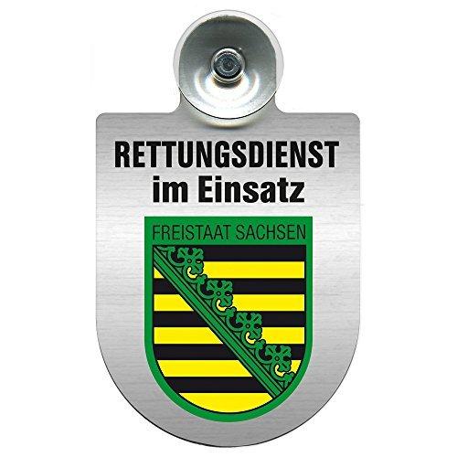 Einsatzschild Windschutzscheibe incl. Saugnapf - Rettungsdienst im Einsatz - incl. Regionen-Wappen nach Wahl - 309354 Farbe Region Freistaat Sachsen
