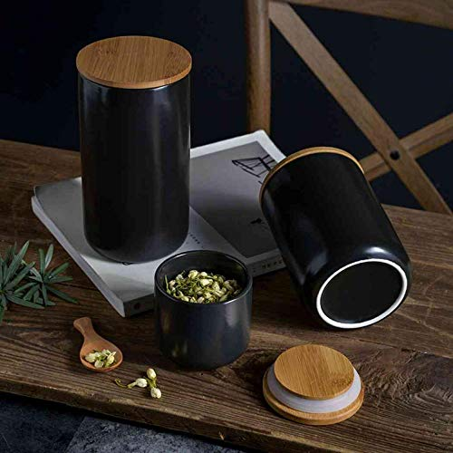 Modern Design Food Storage Canister Set with Airtight Sealed Wooden Lid, Ceramic Kitchen Food Storage Jar Container Set for Tea Sugar Coffee Bean Nuts (Black(3Pcs))