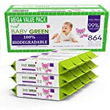 Baby Green Biodegradable Baby Wipes Natural essential oils Value Pack (12 Packs of 72) 864  compostable 99% Pure Water Plastic FREE Moist Newborn Diaper Wipes, Wet Wipe for Sensitive Skin