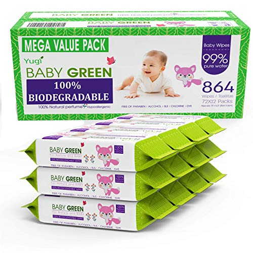 Baby Green Biodegradable Baby Wipes Natural essential oils– Value Pack (12 Packs of 72) 864 – compostable 99% Pure Water Plastic FREE Moist Newborn Diaper Wipes, Wet Wipe for Sensitive Skin