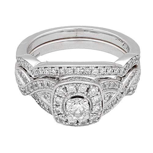 Juego de novia de oro blanco de 14 quilates, diamantes de 0,87 quilates, carril de neil (tamaño L 1/2)