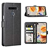 FUNMAX+ LG K61 Hülle, PU Leder Handyhülle mit 3 Kartenfächer, Schutzhülle Hülle Tasche Magnetverschluss Flip Cover Stoßfest für LG K61 Smartphone (Schwarz)