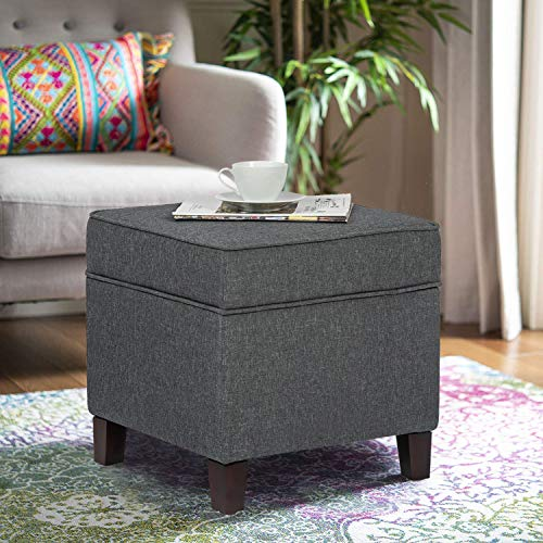 Adeco Chest and Footrest-Square Seat Storage Bench Ottoman, Gray