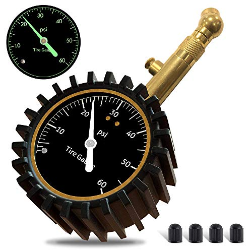 GLISTON Car Tire Pressure Gauge Tire Pressure Gauge Heavy Duty Tire Air Pressure Gauge for Car Motorcycle SUV Bike Tires 060 PSI