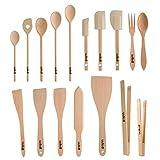 Uulki, Set di Utensili da Cucina in Legno Ecologico, cucchiai, spatole per Alimenti, pinze...