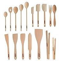 uulki, set di utensili da cucina in legno ecologico, cucchiai, spatole per alimenti, pinze per barbecue, posate da insalata, in legno di faggio europeo (17 pezzi)