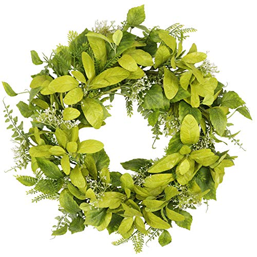 18 inch Greenery Wreath for Front Door Spring and Summer Wreath with Green Leaves Artificial Welcome Door Wreath for Wedding Wall Home Decor