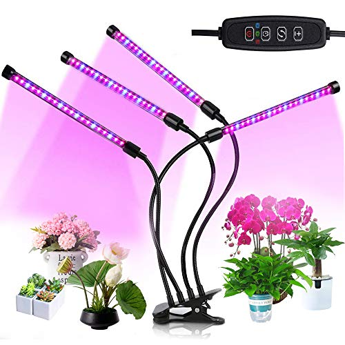 PUDSIRN Pflanzenlampe, 80 LED mit vollem Spektrum, 9 dimmbares Wasser, 360 ° Verstellbarer Schwanenhals, 3/9 / 12H Timer für das Wachstum und die Blüte von Fruchtsamen in Innenräumen