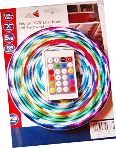 Prisma LED 5m Digital RGB mit Farbwechsel kürzbar 150SMD 164 versch. Lichterp für Innen und Außen geeignetrogramme etc.