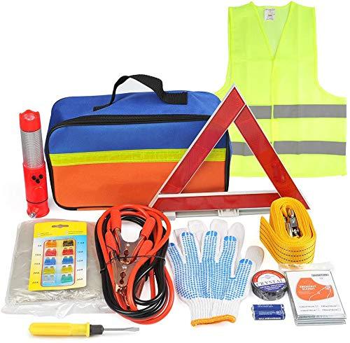 Queta 12-in-1 Auto Notfall-Werkzeugset Pannenhilfe Set Auto Sicherheit Kit mit Aufbewahrungstasche Pannenwerkzeugset wie Starthilfekabel