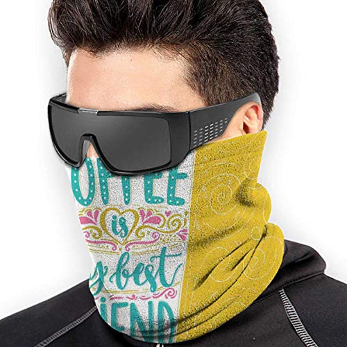 Coffee is My Best Friend Funny Message with Hand Drawn Coffee Cup Bandanas/Neck Warmers/Gaiter Scarf for Outdoors/Face Cover for Winter/Headband for Festival