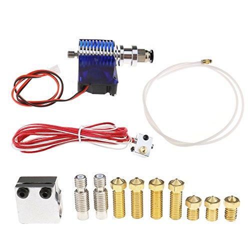 3D Printer V6 Extruder Hotend 1.75 mm/0.4 mm RepRap Kit + extra Parts, Messing Druckkopf, Düsen Kehle, Volcano heating Block
