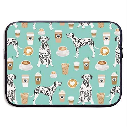 Dalmatians Cute Mint Coffee Best Dalmatian Dog Print 13/15 Inch Laptop Sleeve Bag for MacBook Air 11 13 15 Pro 13.3 15.4 Portable Zipper Laptop Bag Tablet Bag,Water Resistant,Black